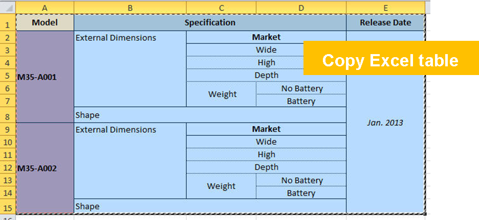 tablex copy excel table
